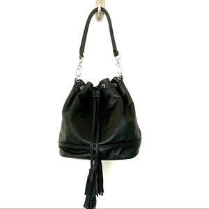 ASH Black Pebbled Leather Boho Bucket Bag